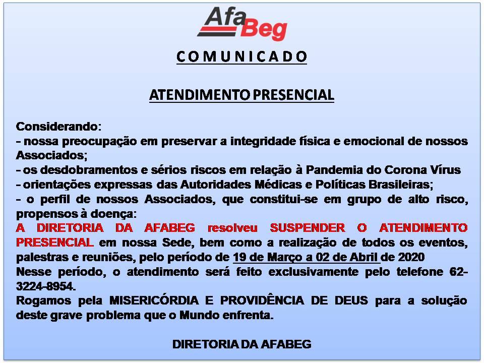 COMUNICADO – ATENDIMENTO PRESENCIAL